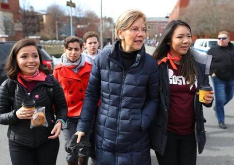 Senator Elizabeth Warren met with students at the Madison Park High School.